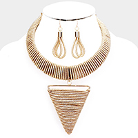 Coil Wrapped Triangle Pendant Choker Necklace