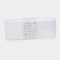 Shimmery Mesh Crystal Rhinestone Pave Evening Clutch
