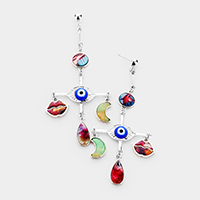 Cross Celluloid Acetate Evil Eye Moon Lips Charm Earrings