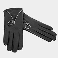 Faux Leather Zipper Smart Touch Gloves