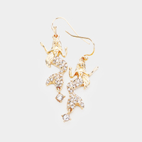 Crystal Pave Metal Mermaid Dangle Earrings