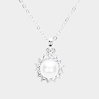 Crystal Pave Trimmed Pearl Pendant Necklace