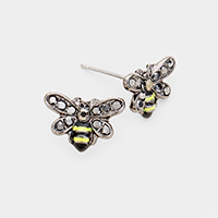 Crystal Bumblebee Stud Post Earrings