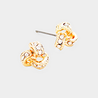 Pave Crystal Love Knot Earrings