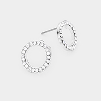 Round Disk Crystal Pave Stud Earrings
