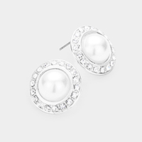 Round Pearl Pave Trimmed Stud Earrings