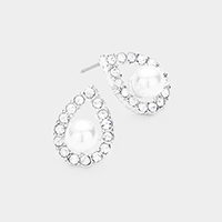 Pearl Centered Crystal Pave Trimmed Teardrop Earrings
