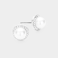Crystal Paved Rhinestone Pearl Stud Earrings
