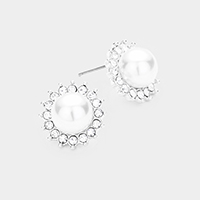 Pearl Centered Crystal Pave Trimmed Stud Earrings
