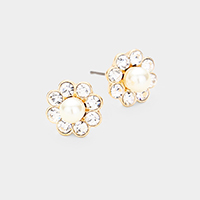 Pearl Centered Crystal Round Trimmed Stud Earrings