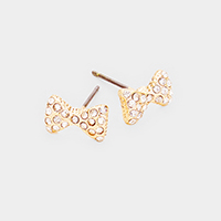 Crystal Embellished Bow Stud Earrings