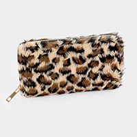 Fluffy Faux Fur Zipper Closure Wallet