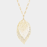 Two Tone Triple Texture Filigree Leaf Pendant Long Necklace