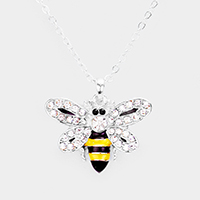 Crystal Pave Metal Bee Pendant Necklace