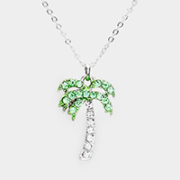 Crystal Pave Palm Tree Pendant Necklace
