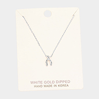 White Gold Dipped Wishbone Pendant Necklace