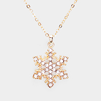 Crystal Pave Metal Snowflake Pendant Necklace