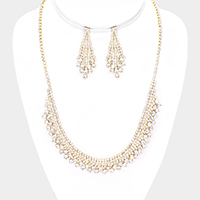 Crystal Rhinestone Pave Bubble Collar Necklace
