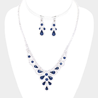 Crystal Teardrop Rhinestone Pave V Collar Necklace