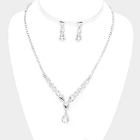 Crystal Triple Teardrop Rhinestone Pave Necklace