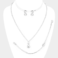 Crystal Teardrop Rhinestone Necklace Jewelry Set