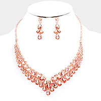 Crystal Teardrop Cluster V Collar Evening Necklace