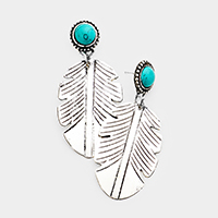 Round Turquoise Metal Feather Link Dangle Earrings