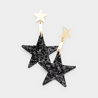 Glittering Textured Star Fabric Earrings