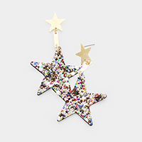 Glitter Textured Star Fabric Earrings