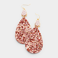 Glittering Textured Druzy Teardrop Earrings
