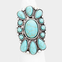 Abstract Oval Turquoise Cluster Tribal Stretch Ring