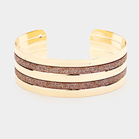 Metal Shiny Stripe Detail Cuff Bracelet