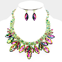 Crystal Oval Floral Evening Collar Necklace