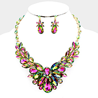 Crystal Oval Vine Cluster Evening Necklace