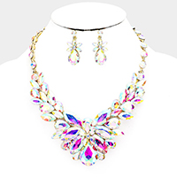 Crystal Oval Leaf Vine Cluster Evening Necklace