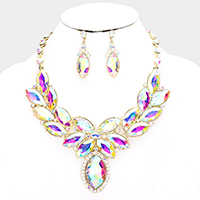 Crystal Oval Cluster Evening Collar Necklace