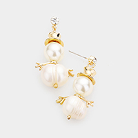 Crystal Round Snowman Pearl Dangle Earrings