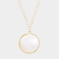 Round Mother of Pearl Brass Pendant Long Necklace
