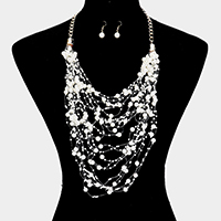 Multi Strand Pearl Stationed Chain Statement Necklace