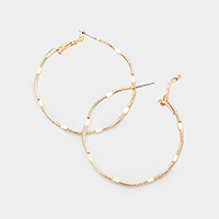 14k Gold Filled Textured Metal Hoop Earrings