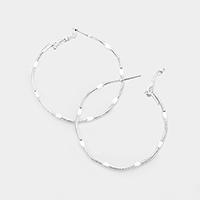 14k White Gold Filled Textured Metal Hoop Earrings