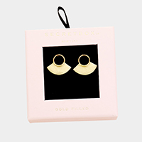 Secret Box _ Gold Filled Hoop Fan Disc Stud Earrings