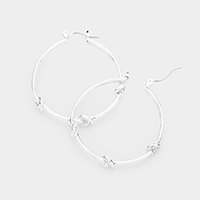 Metal Knot Hoop Link Earrings