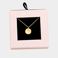 Secret Box _  Gold Filled Round Pendant Necklace