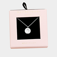 Secret Box _  White Gold Filled Round Pendant Necklace