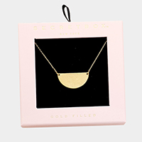 Secret Box _  Gold Filled Semi Round Pendant Necklace