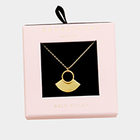Secret Box _  Gold Filled Fan Hoop Pendant Necklace