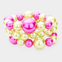 3PCS - Two Tone Pearl Cluster Stretchable Bracelets