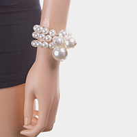3Row Strand Pearl Stretch Bracelet