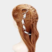Crystal Rhinestone Pave Flower Leaf Stationed Hair Comb